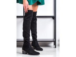 Praktické dámske čižmy čierne na širokom podpätku
