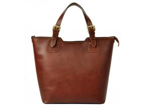 Veľká kožená hnedá dámska kabelka