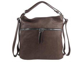 Veľká dámska kabelka cez rameno / ruksak prírodná hnedá