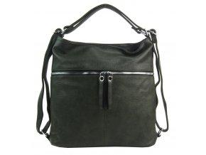 Veľká dámska kabelka cez rameno / ruksak zelená