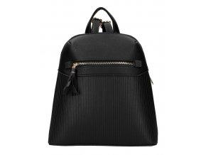 Čierny módny dámsky batôžtek s čelným vreckom AM0065