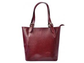 Veľká bordová kožená dámska kabelka cez rameno L Artigiano
