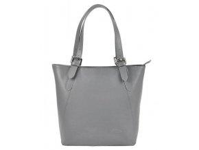 Veľká sivá kožená dámska kabelka cez rameno L Artigiano