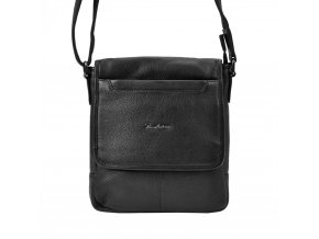 Kožená čierna pánska crossbody taška Pierre Andreus 23 x 23 cm