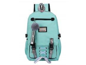Veľký tyrkysový študentský dizajnový batoh pre dievčatá, USB port
