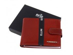 Koňaková hnedá pánska kožená peňaženka v krabičke Ellini RFID V