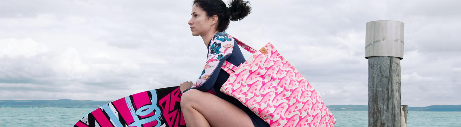 Plážová taška Beach ružová s rybičkami Time for Lime
