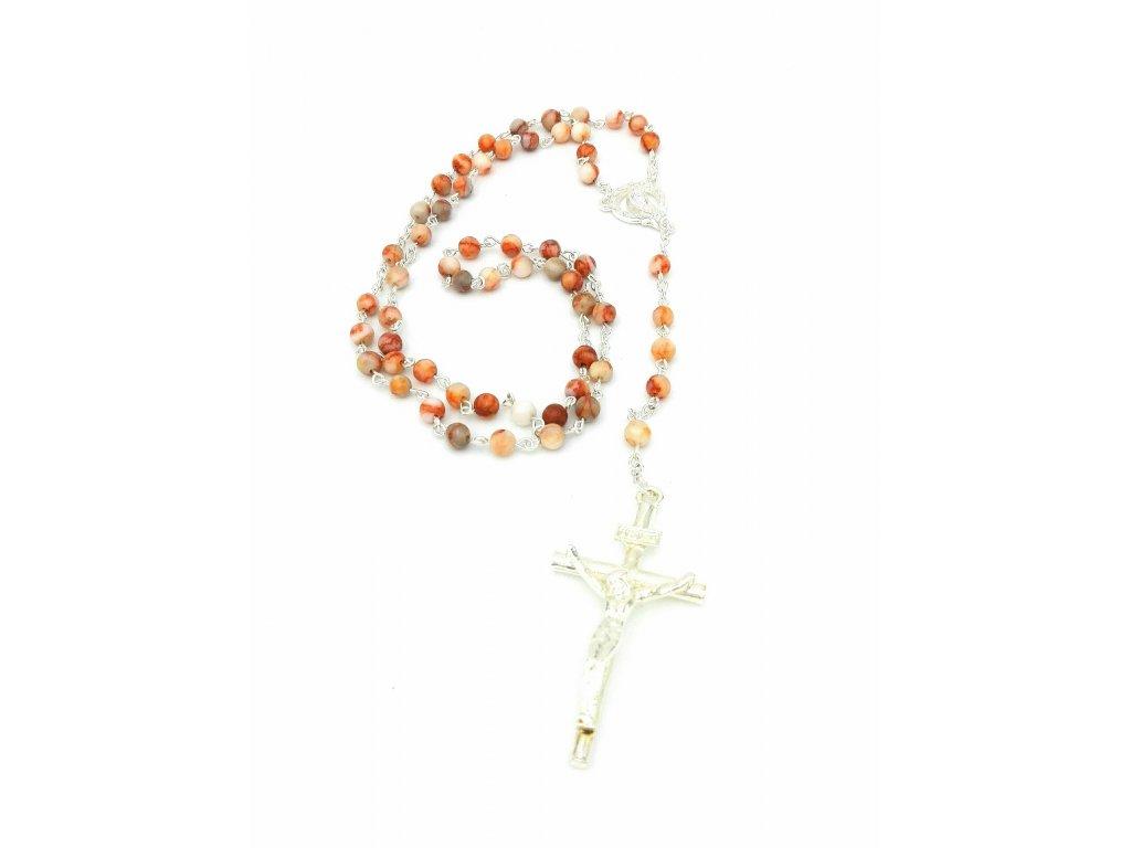 Růženec z růžového jaspisu