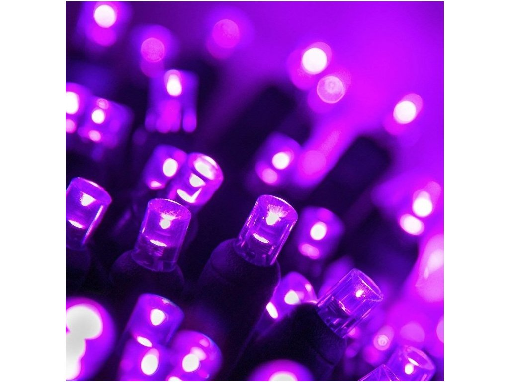 Venkovní LED vánoční řetěz -fialová, 10m, 500 LED, se záblesky