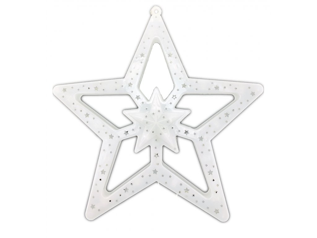 Svítící LED dekorace - hvězda, 28cm, různé barvy