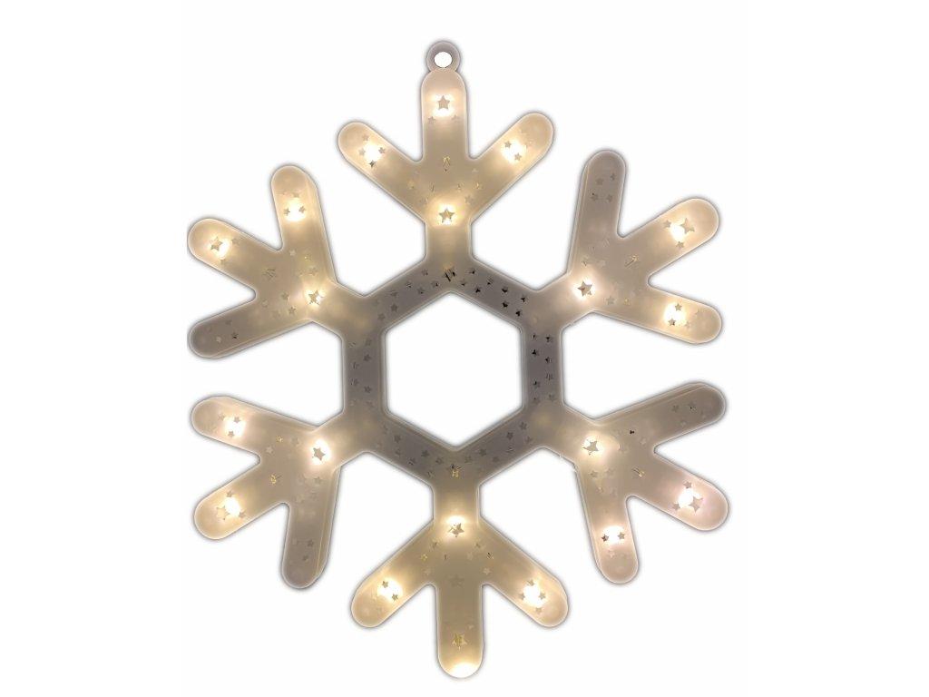 Svítící LED dekorace - sněhová vločka, 40cm, různé barvy