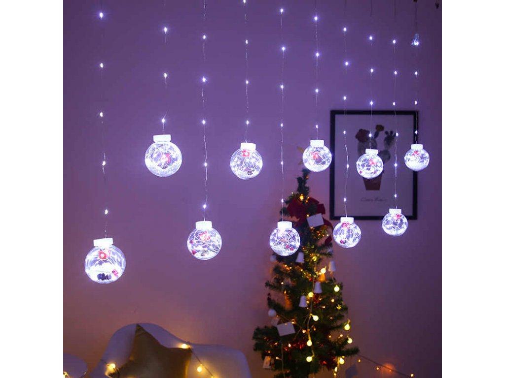 Vnitřní LED vánoční závěs, koule, váčnoní stromeček
