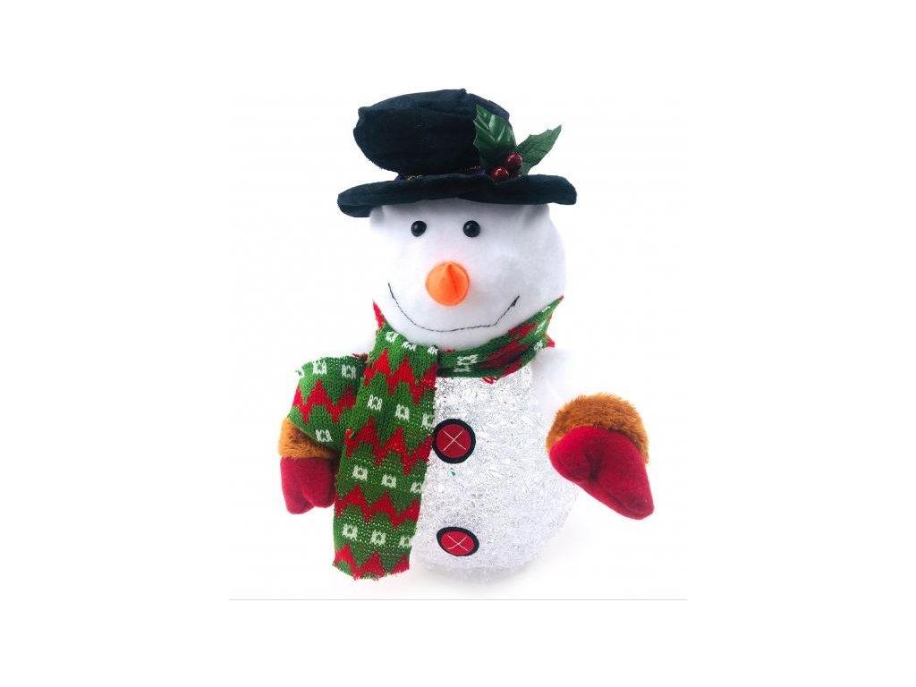 Světelný LED sněhulák, v klobouku, se šálou a rukavicemi, 30cm vysoký