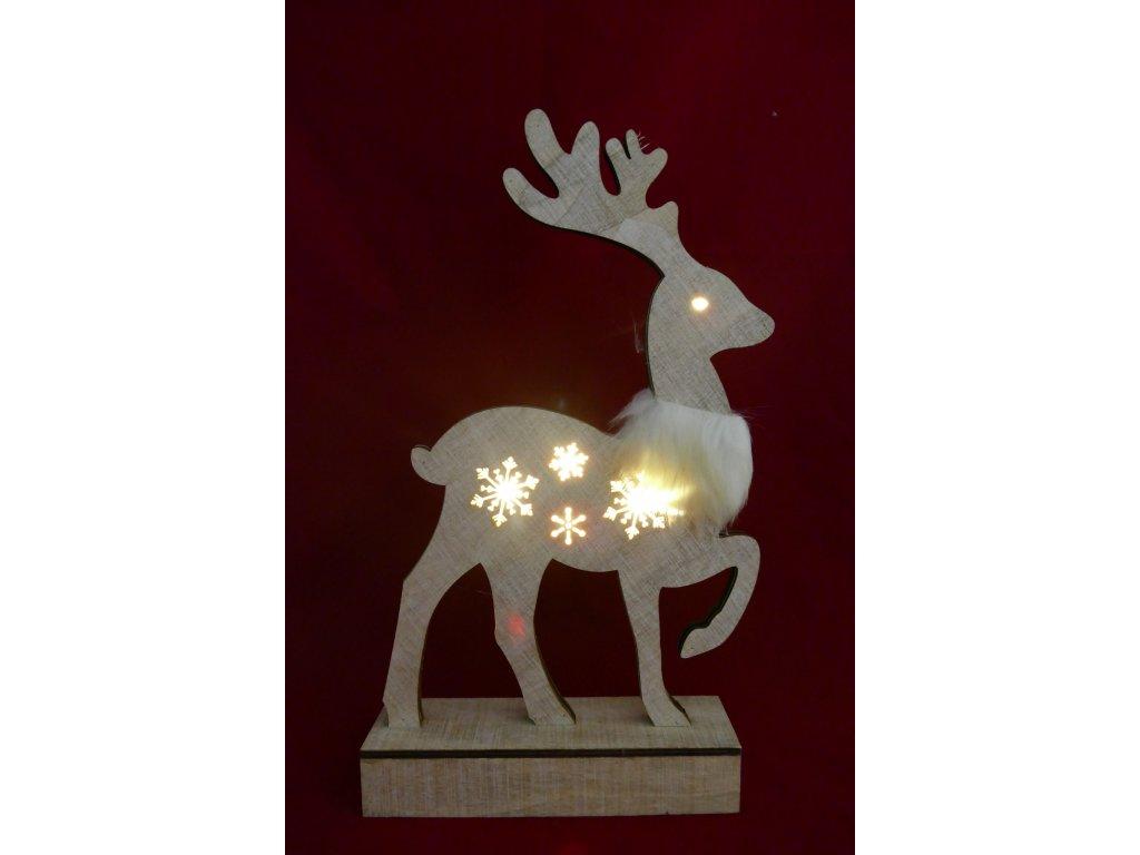 LED svítící sob s kožíškovou šálou a sněhovými vločkami na těle