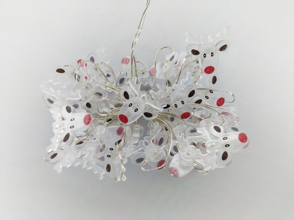 Vnitřní vánoční LED mikro řetěz - sobi, 40 LED