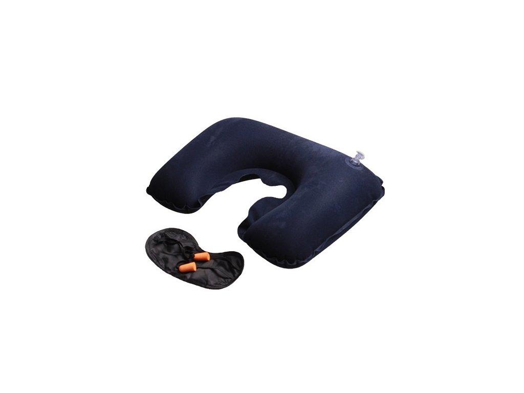 Cestovní spací set - nafukovací záhlavník, maska na oči a zátky do uší
