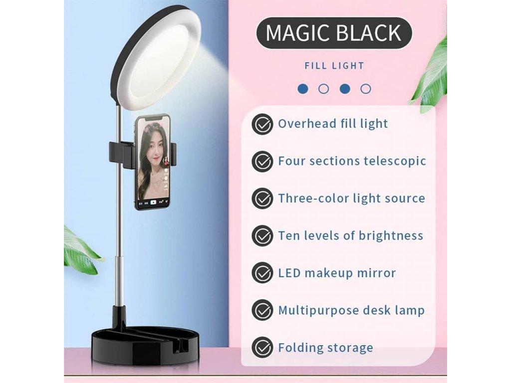 LED kosmetické zrcátko s držákem pro mobil