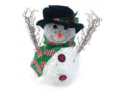 Svítící sněhulák s černým kloboukem a šálou