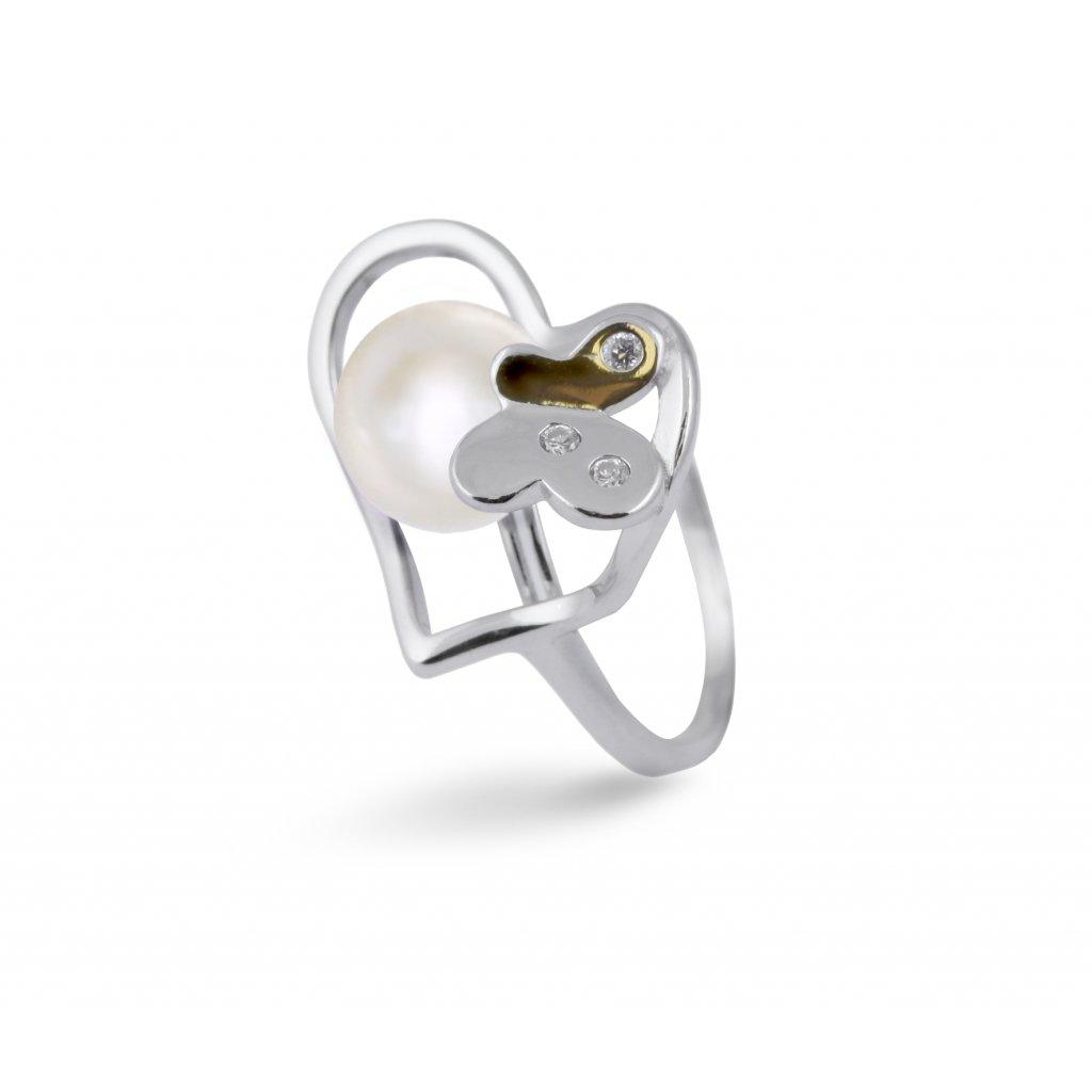 Stříbrný prsten s pravou říční perlou TAJ-0100