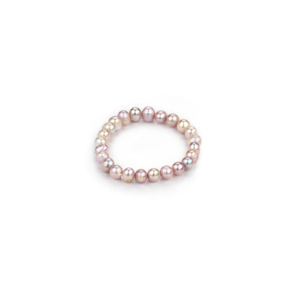 Náramek z  pravých říčních perel Runa, fialová