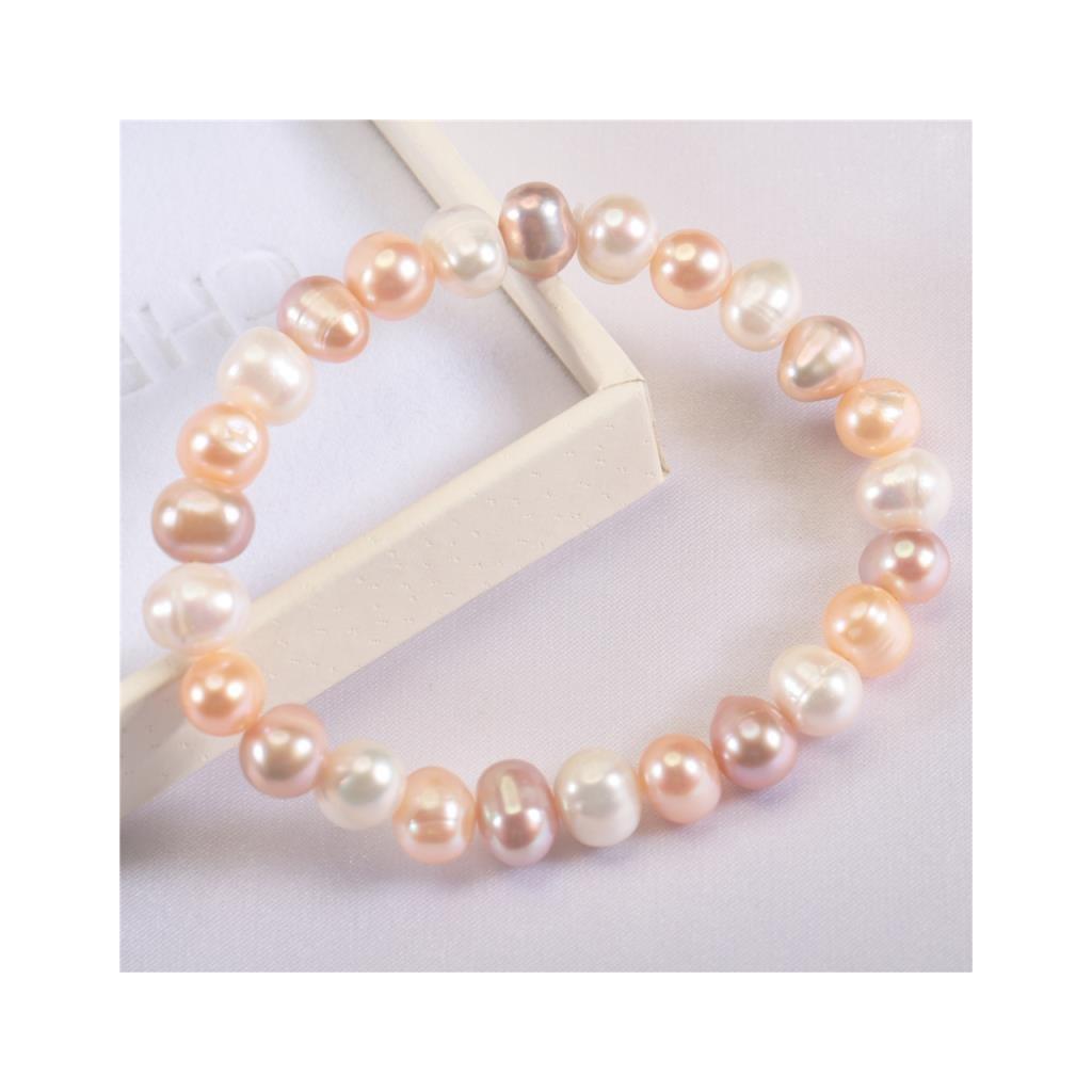 Náramek z  pravých říčních perel Runa, mix růžovo fialová