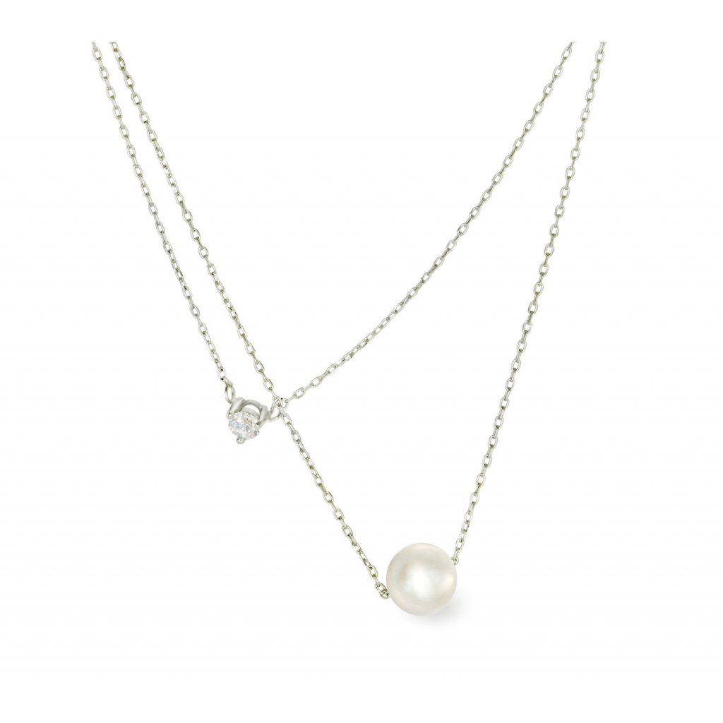 Stříbrný náhrdelník s pravou říční perlou Valdis