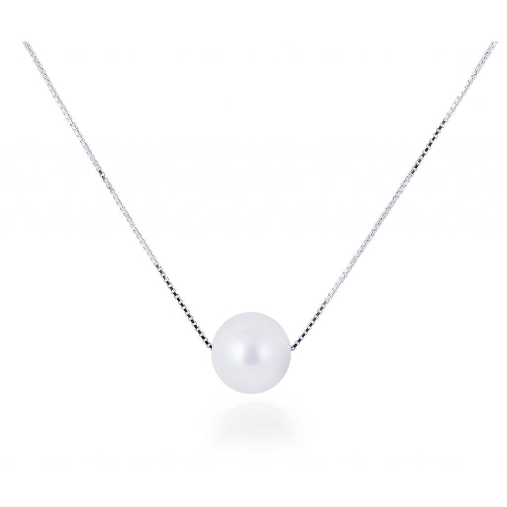 Stříbrný náhrdelník s pravou říční perlou jemná elegance
