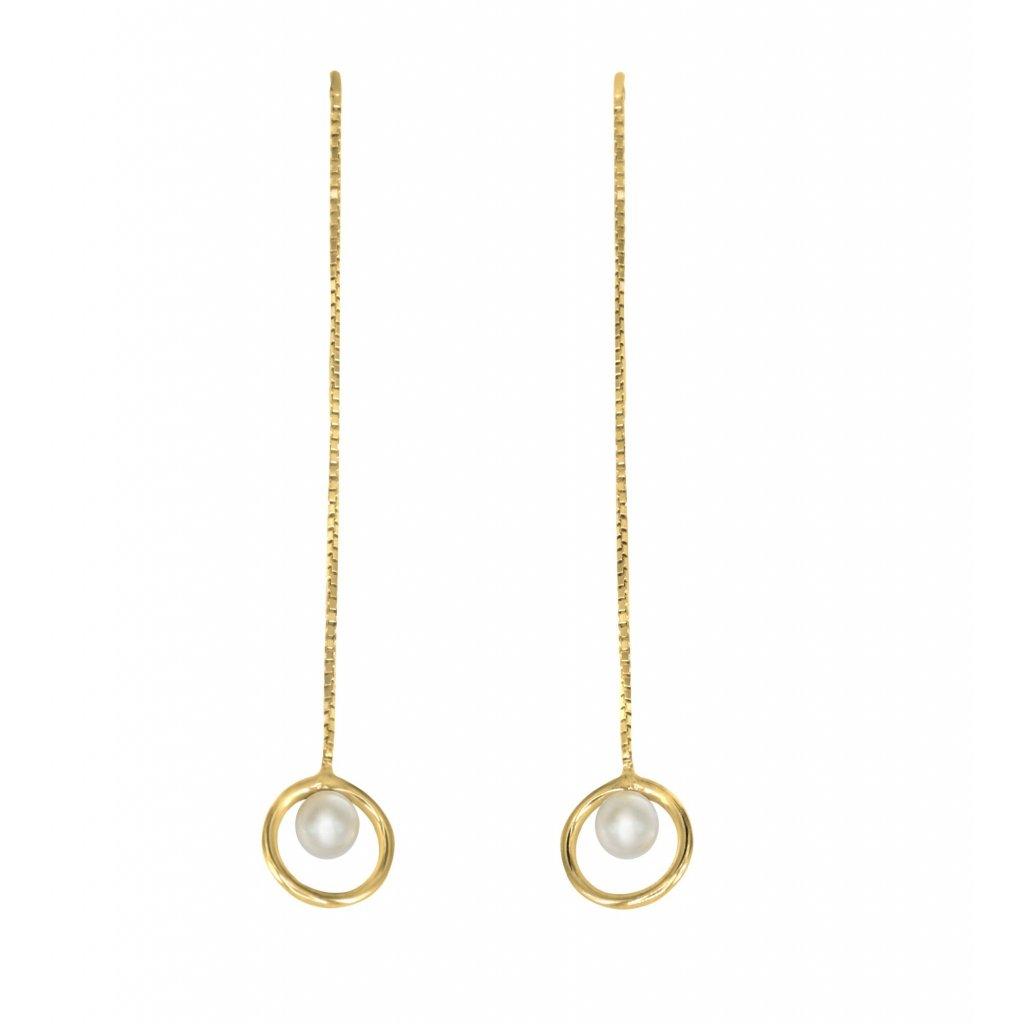 Stříbrné naušnice  s pravou perlou visací elegance