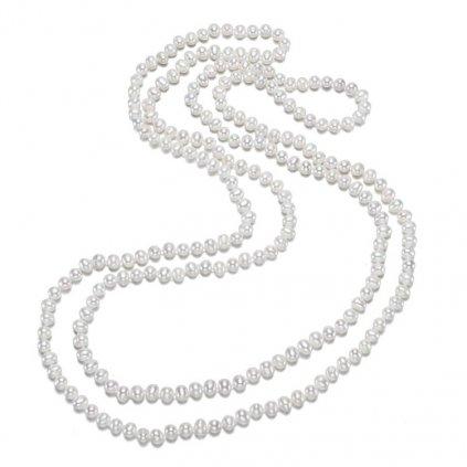 perlová náhrdelník 160 cm bílá