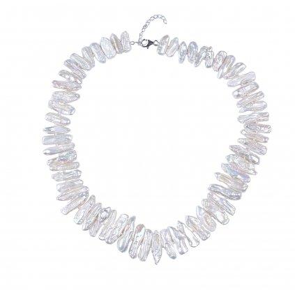 Náhrdelník pravé říční perly BIWA bílé