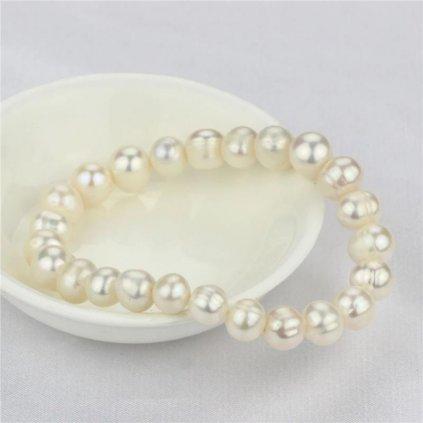 Náramek z  pravých říčních perel Runa, bílá