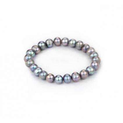 Náramek z  pravých říčních perel Runa, šedá