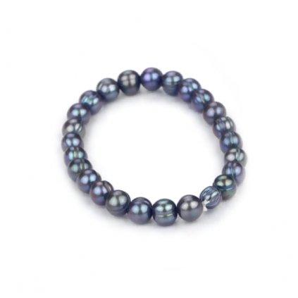 Náramek z  pravých říčních perel Runa, černá