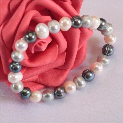 Náramek z  pravých říčních perel Runa, mix šedočerná