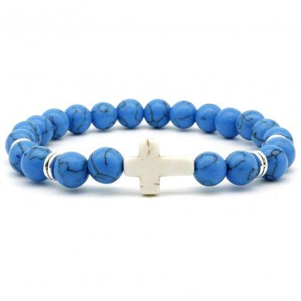 Náramek z modrého jaspisu s křížkem