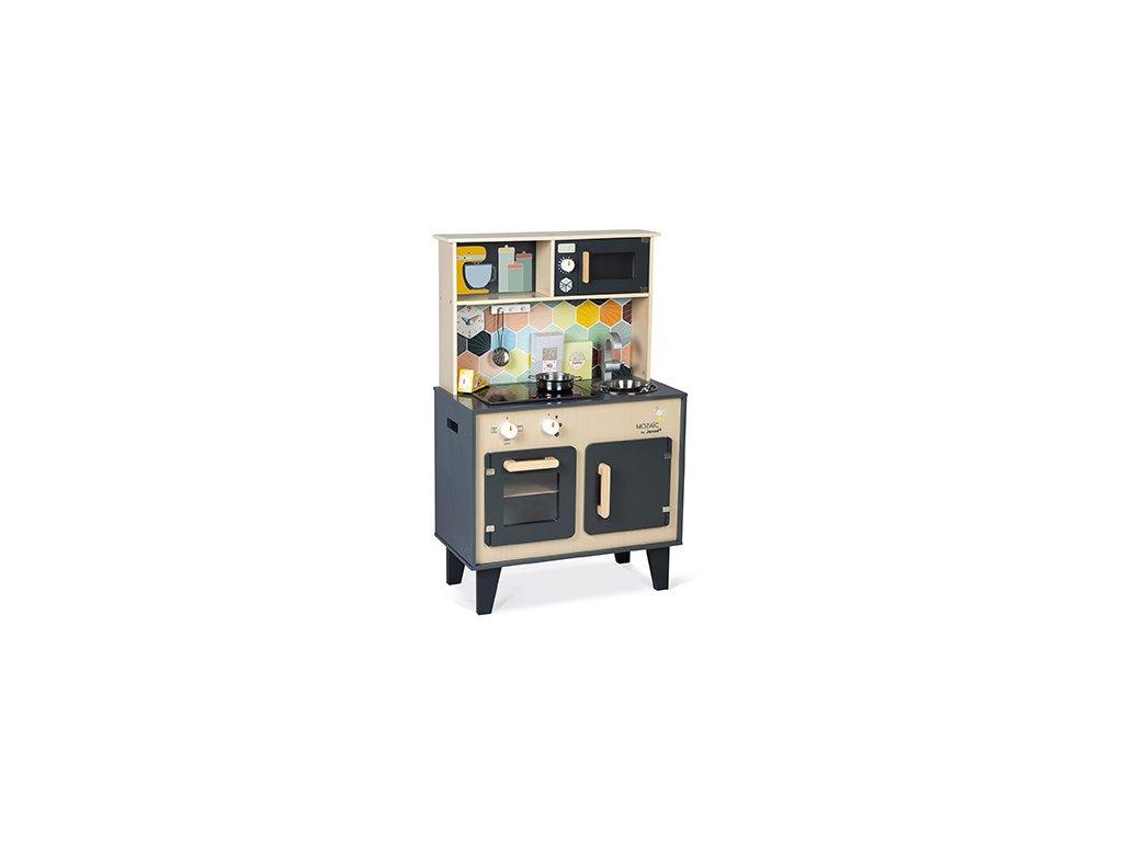 J06609 Janod Detska drevena kuchynka Mozaic s LED doskou 01