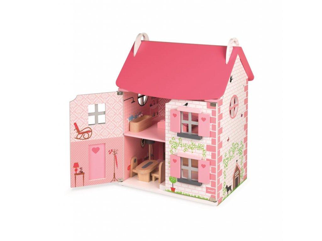 Janod Drevený domček pre bábiky Mademoiselle s príslušenstvom 11 ks nábytku od 3 rokov