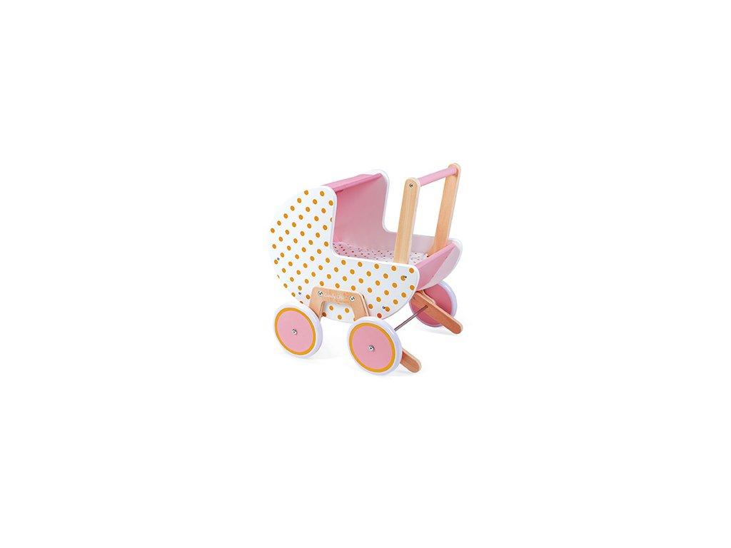 Janod Drevený kočík pre bábiky Candy Chic