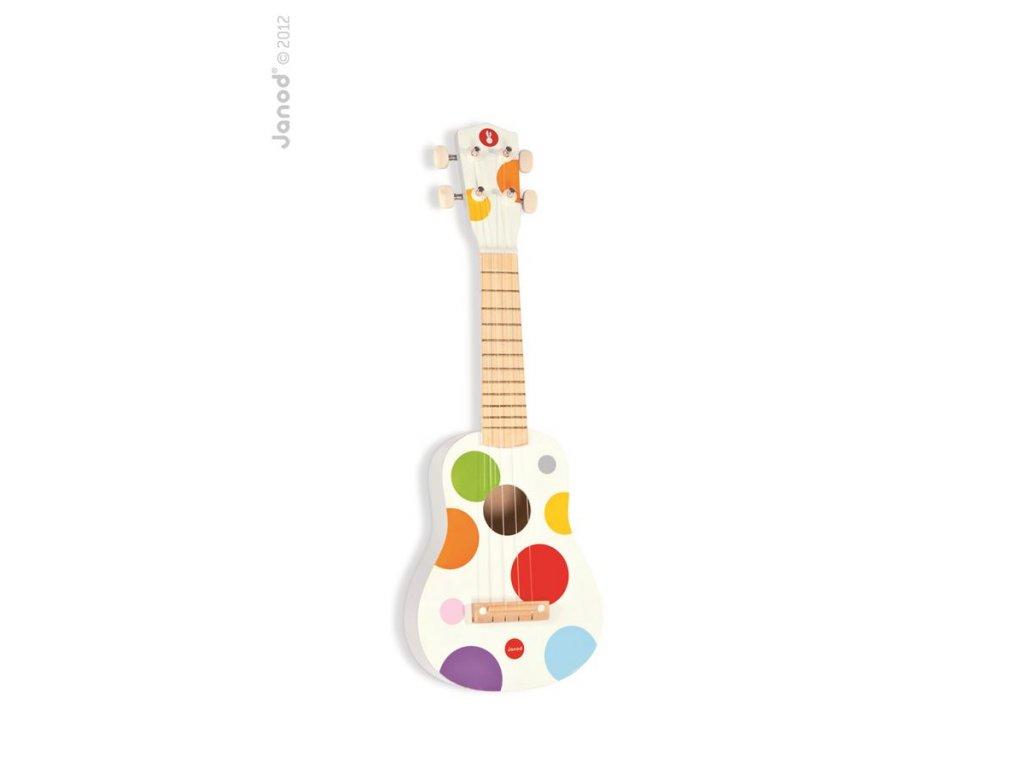 Janod Drevené ukulele Confetti so reálnym zvukom 4 struny od 3-8 rokov