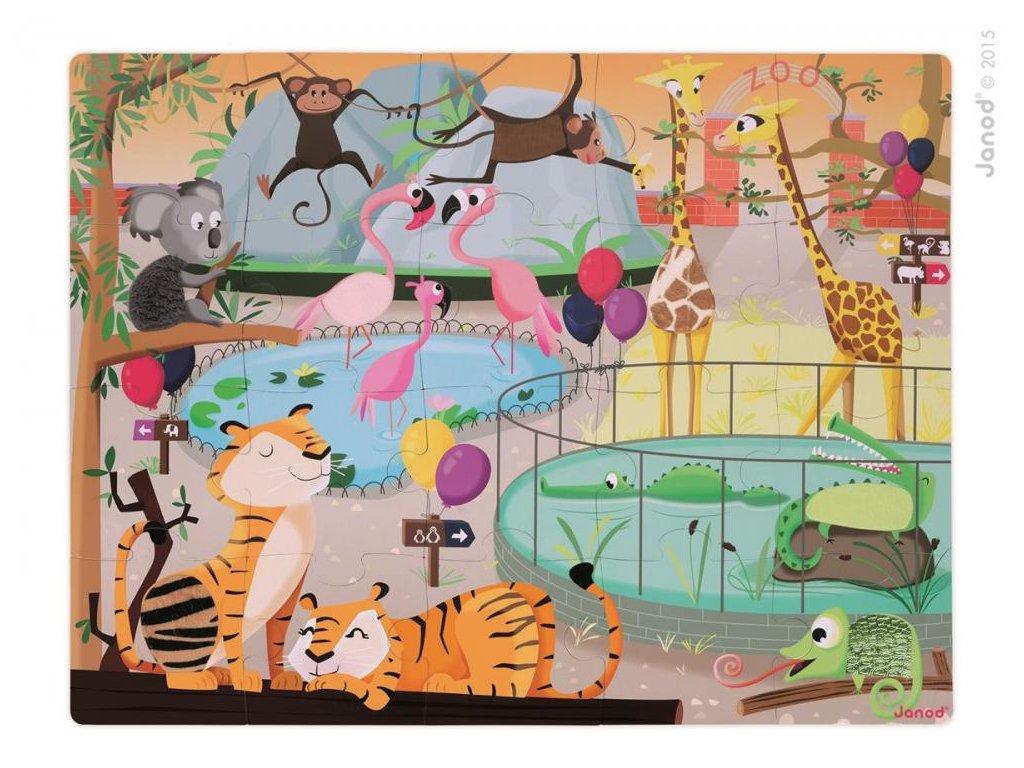 Janod Puzzle dotykové Deň v zoologickej záhrade s textúrou 20 dielov od 3-6 rokov