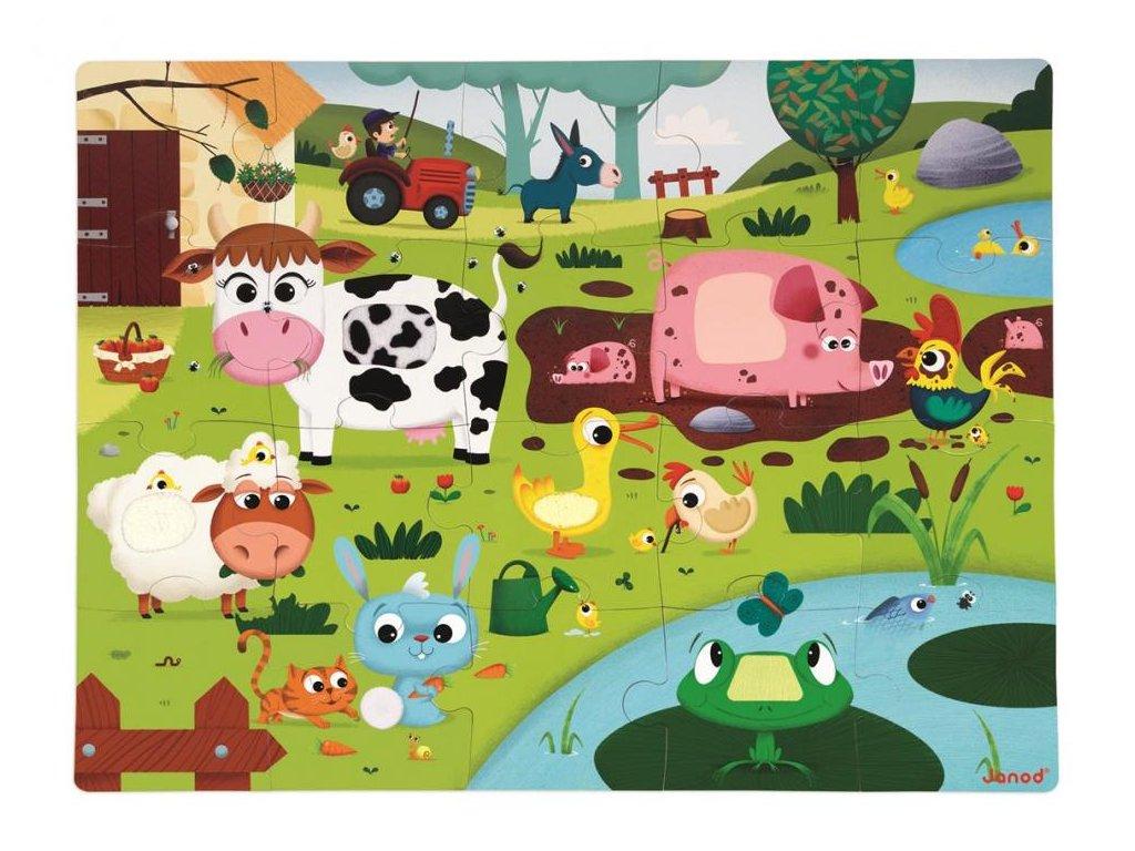 Janod Puzzle dotykové Zvieratká na farme s textúrou 20 dielov od 3-6 rokov
