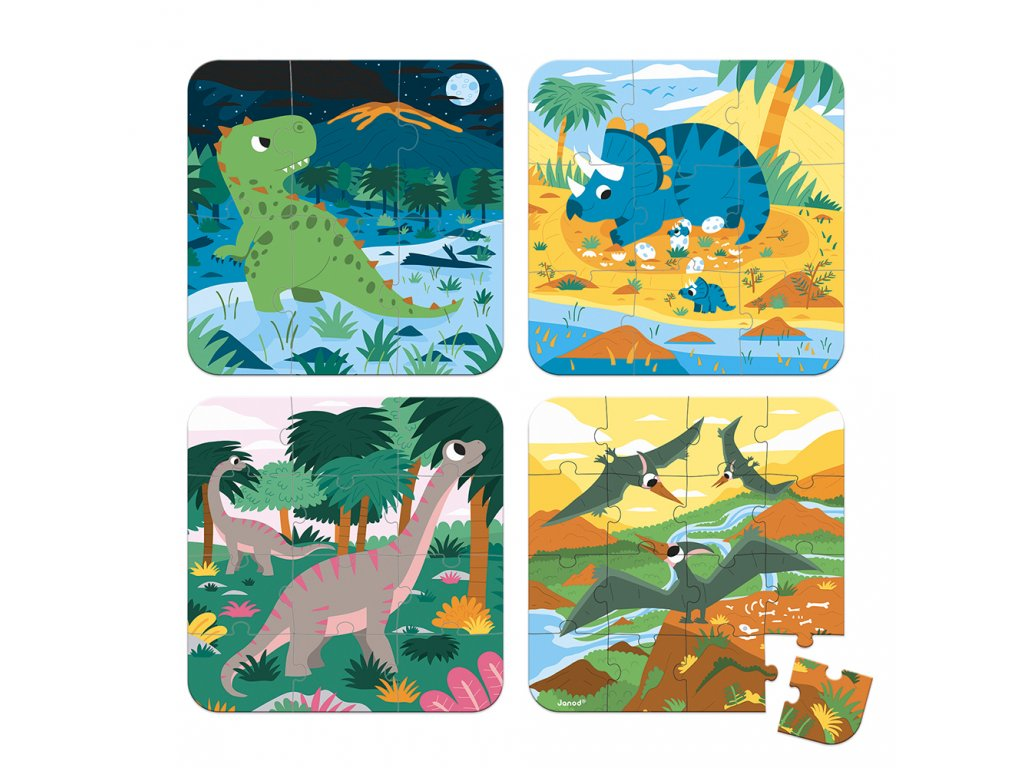 Janod Puzzle 4v1 Dinosaury 6-9-12-16 ks