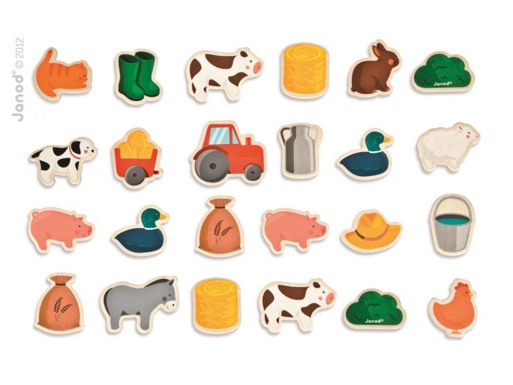 Janod Drevené magnetky pre deti Zvieratá na farme 24 ks od 2 rokov