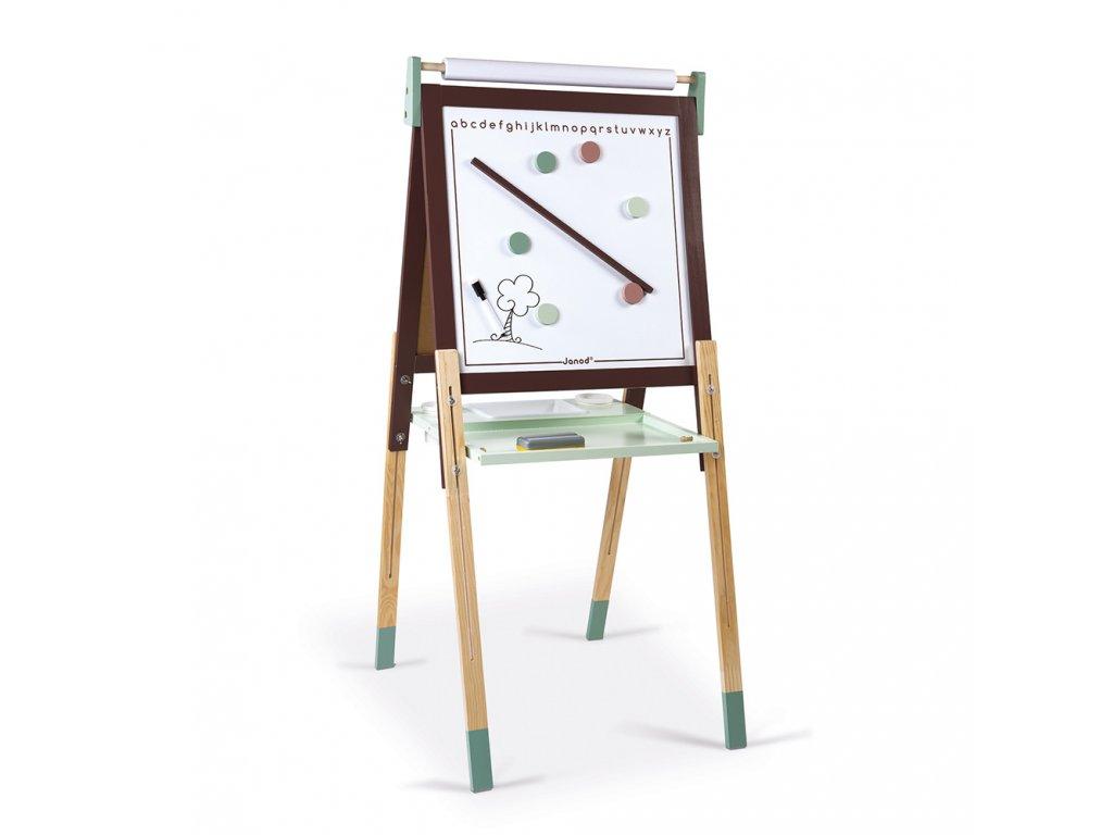 Janod magnetická tabuľa obojstranná polohovateľná hnedá zelená