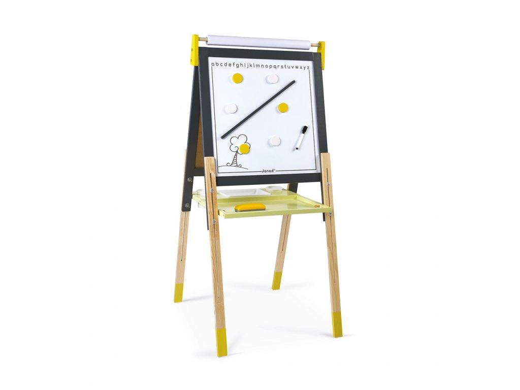 Janod magnetická tabuľa obojstranná polohovateľná žltá šedá