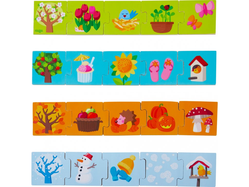 Haba drevené puzzle na učenie Ročné obdobia 20 ks