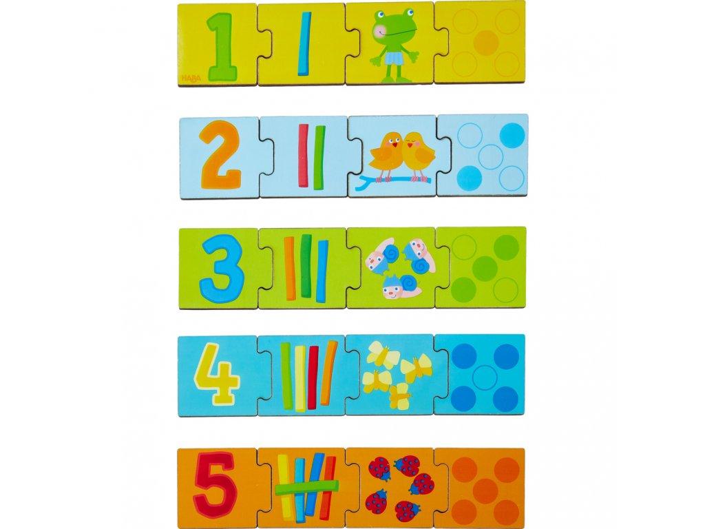 Haba Drevené puzzle na učenie čísel do 5