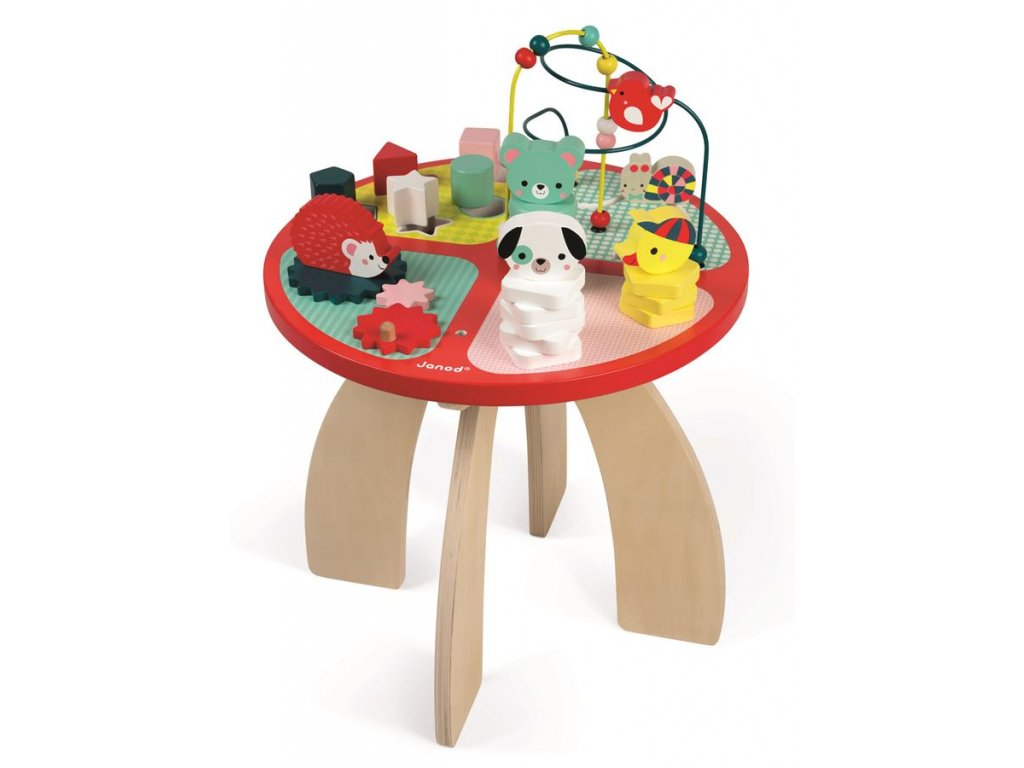 Janod Drevený hrací stolík s aktivitami na jemnú motoriku Baby Forest od 1 roka