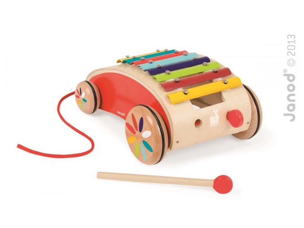 Janod Detský drevený vozík s xylofónom Red Tatoo na ťahanie od 1 roka
