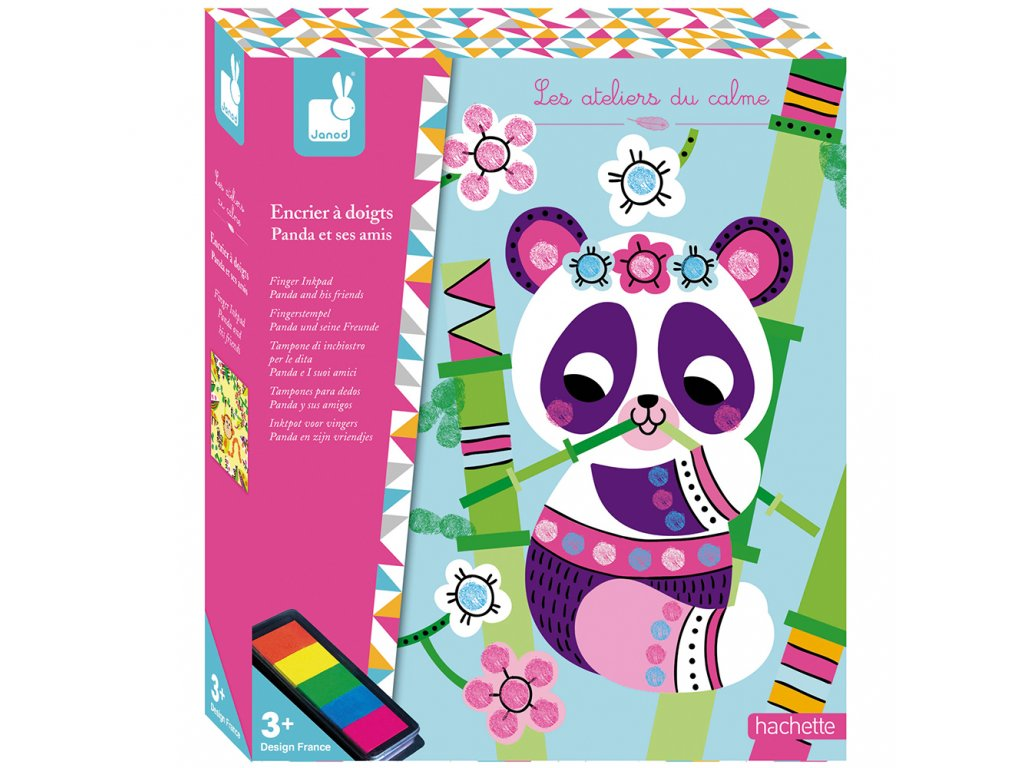 Janod Atelier Prstové farby Panda Maxi 3+
